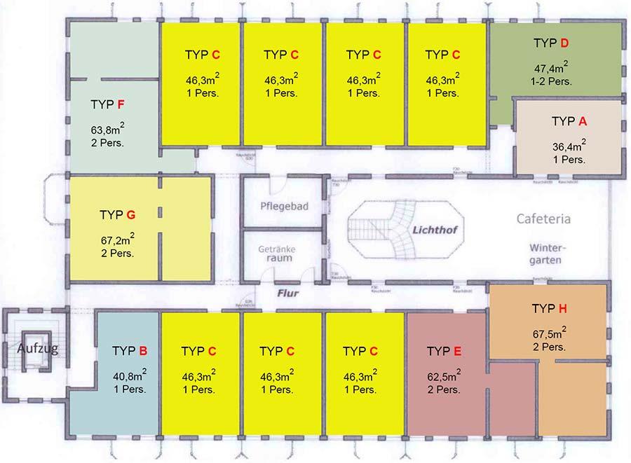 Lageplan der Wohnungen in der Altstadtresidenz Betreutes Wohnen Probsteder, Bad Griesbach